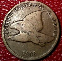 OLD VINTAGE COIN1858 FLYING EAGLE  PENNY ONE CENT GOOD C118