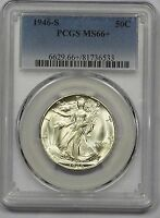 1946-S PCGS MINT STATE 66 WALKING LIBERTY HALF FROSTY WHITE SOLID STRIKE  LUSTER
