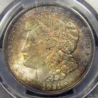 1921 MORGAN SILVER DOLLAR NGC MS64   MONSTER RAINBOW TONED TOUGH DATE FOR COLOR