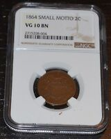 1864 2C SMALL MOTTO GRADED BY NGC AS VG 10 BN