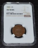 1865 2C BN TWO CENT PIECE GRADED BY NGC AS AU 58 BN