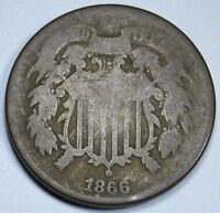 1866 U.S. 2C TWO CENT PIECE 2 PENNY US ANTIQUE CURRENCY COIN REAL OLD USA MONEY
