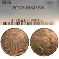 1866 2 CENT PCGS MINT STATE 63BN WOOD GRAINED TONED