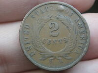 1864 TWO 2 CENT PIECE- LARGE MOTTO, VF DETAILS, PARTIAL WE