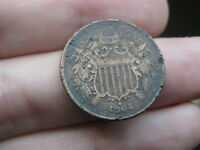 1864 TWO 2 CENT PIECE- LARGE MOTTO- VF OBVERSE DETAILS, PARTIAL WE