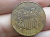 1864 TWO 2 CENT PIECE- VF DETAILS- LARGE MOTTO