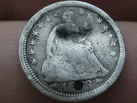 1853 SEATED LIBERTY HALF DIME WITH ARROWS  HOLED