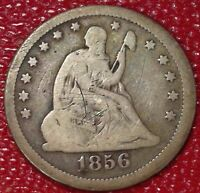WOW 1856 SEATED LIBERTY SILVER QUARTER DOLLAR COIN VG C403