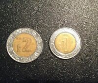 MEXICAN COINS 1998 $2  1995 $1 AND 2004 $1