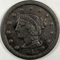 1845 BRAIDED HAIR LIBERTY HEAD LARGE CENT   NICE US COPPER COIN