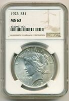 1923 PEACE SILVER DOLLAR MINT STATE 63 NGC