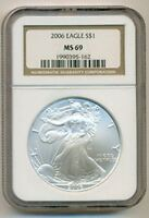 2006 1 OUNCE SILVER EAGLE DOLLAR MINT STATE 69 NGC