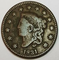 1831 VF  N-10 U.S. CORONET HEAD LARGE CENT N10 ANTIQUE US COIN CURRENCY