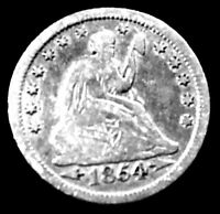 1854 - 25C SEATED LIBERTY SILVER QUARTER - EXTRA FINE. ADD $3.00 FOR SH&I COSTS.