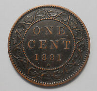 1881H LARGE CENT VF EF HIGH GRADE  UNDERVALUED QUEEN VICTORIA CANADA PENNY