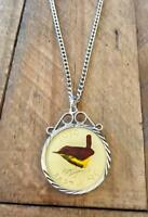 VINTAGE ENAMELLED 1939 FARTHING COIN PENDANT & NECKLACE. GRE