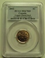 2012 PCGS MS67 1 CENT RD COPPER PLATED STEEL  RED MAGNETIC  CANADA ONE PENNY