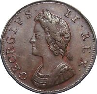 1730 COPPER FARTHING GEORGE II. LY FINE.  CGS 65. PECK 854