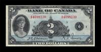 1935 BANK OF CANADA 2 DOLLARS $2   QUEEN MARY      EF