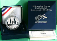 2010 AMERICAN VETERANS DISABLED 4 LIFE 90  SILVER DOLLAR PROOF COIN WITH BOX COA