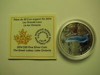2014 PROOF $20 THE GREAT LAKES 2 LAKE ONTARIO COIN&COA ONLY .9999 SILVER TWENTY
