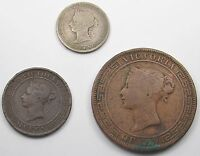 3 CEYLON   QUEEN VICTORIA COINS   ONE CENT 1870 FIVE CENTS 1890  25 CENTS 1900