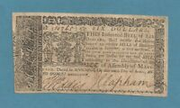 1774 $ 6 MARYLAND COLONIAL CURRENCY EXTRA FINE CONDITION SHARP EARLY NOTE