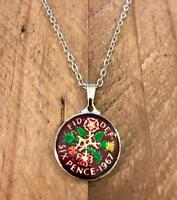 HAND PAINTED ENAMEL SIXPENCE COIN 1967 PENDANT & NECKLACE. G