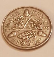 1932   SILVER   3D THREE PENCE   GREAT BRITAIN   KING GEORGE V   ENGLISH UK COIN