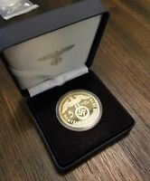 BOXED WW2 WWII THIRD REICH NAZI GERMAN HINDENBURG 5RM 24K GOLD PLATED COIN 1938