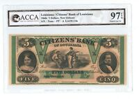 US 1800S CITIZENS' BANK NEW ORLEANS $5 DOLLAR UNC GEM BANK NOTE ACCA