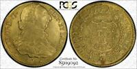 1790P SF COLOMBIA GOLD 4 ESCUDOS PCGS AU53  LY  TOP POP COIN