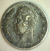 1830 A FRANCE 1/4 F KM722.8 SILVER WORLD COIN EXTRA FINE XF