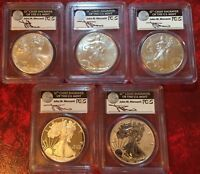 2011 25TH ANNIVERSARY SILVER EAGLE 5 COIN SET PCGS MERCANTI MS70 PR70 FS