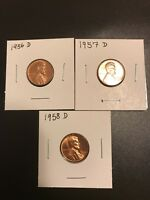 1956 D 1957 D AND 1958 D BU LINCOLN WHEAT CENTS