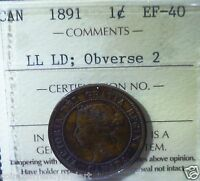 CANADA 1891  LARGE CENT  LL  LD ; OBVERSE 2  ICCS CERTIFIED