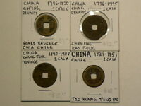 CHINA 1736 TO 1908 CASH  LOT OF 4 DIFFERENT COINS  G8902