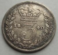 GREAT BRITAIN 1840 3 PENCE SILVER P 730 WORLD COIN FREE S/H