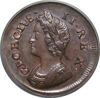 1736 COPPER FARTHING GEORGE II. ABOUT UNCIRCULATED.  CGS 70. PECK 864