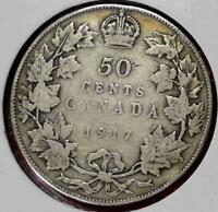 1917 CANADA SILVER 50 CENTS NICE CANADIAN COIN VG  C214