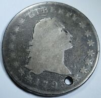 1795 US $1 ONE DOLLAR FLOWING HAIR TWO LEAVES   U.S. SILVER COIN