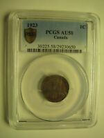 1923 PCGS AU58 1 CENT CANADA ONE PENNY