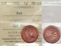 1981 ICCS MS65 1 CENT RED CANADA ONE PENNY