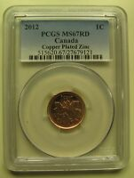 2012 PCGS MS67 1 CENT RD COPPER PLATED ZINC  RED NON MAGNETIC  CANADA ONE PENNY