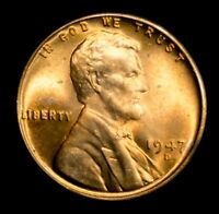 1947D LINCOLN WHEAT CENT - CHOICE BU - BLAZING RED