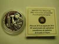 2014 PROOF $20 50TH ANNIVERSARY PEACEKEEPING CYPRUS CANADA COIN&COA ONLY .9999 S