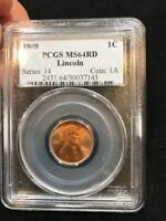 1909 LINCOLN WHEAT CENT PCGS MINT STATE 64RD BLAZING BRIGHT RED BEAUTY  SHIPS FREE