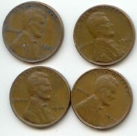 USA 1944 1945 1946 & 1947 ONE CENT AMERICAN PENNIES - 1C EXACT SET SHOWN
