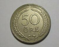 SWEDEN 50 ORE 1920 W HIGH GRADE EXCELLENT COIN  SWEDISH