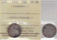 1934 ICCS VF20 10 CENTS CANADA TEN DIME SILVER